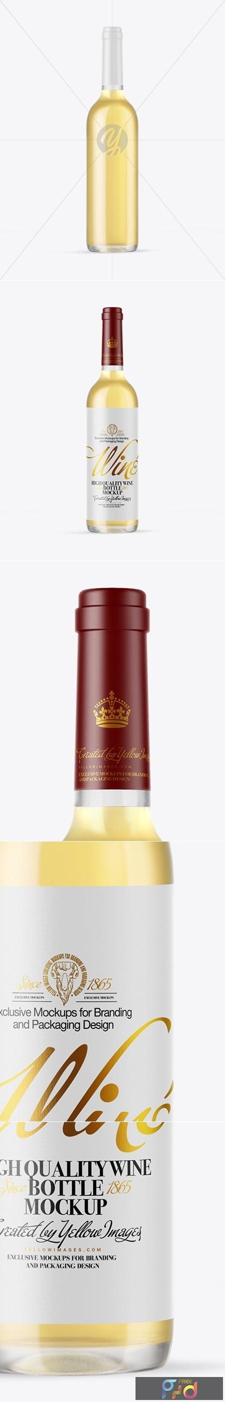 Clear Glass White Wine Bottle Mockup 50489 1