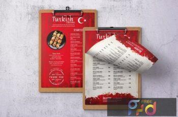 Turkish Cuisine Single Page A4 & US Letter Menu 3Y745UN 8