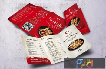 Turkish Cuisine Trifold A4 & US Letter Menu 2B35XCY 3