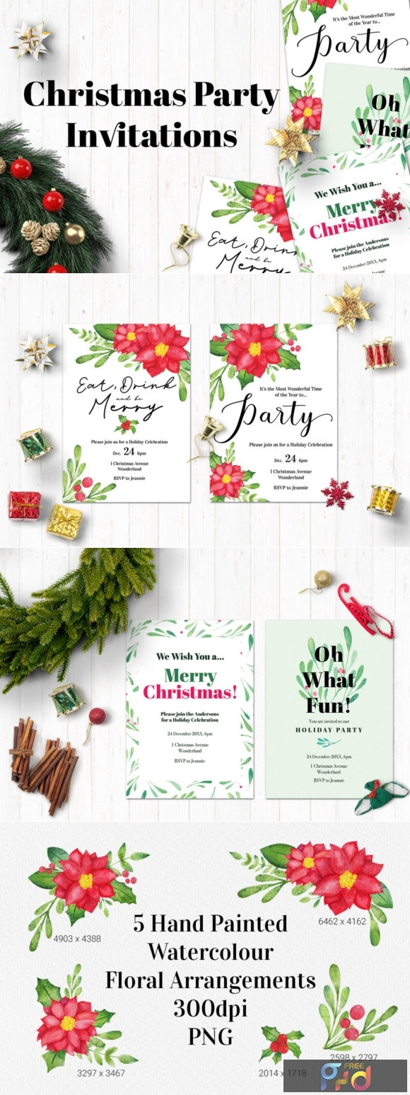 Watercolor Christmas Party Invitations 1997290 1