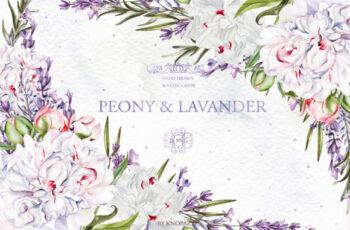 Watercolor Peony & Lavender 1996883 5