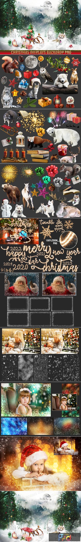 150 Christmas Overlays Photoshop Clipart Bundle 1