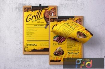 Barbecue Single Page A4 & US Letter Food Menu ZM5GK4P 2