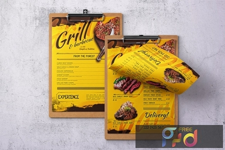 Barbecue Single Page A4 & US Letter Food Menu ZM5GK4P 1