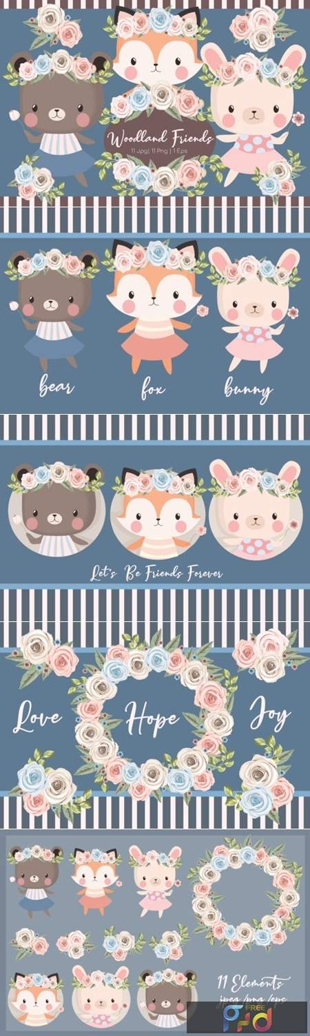 Woodland Friends Clipart Set 1992740 1