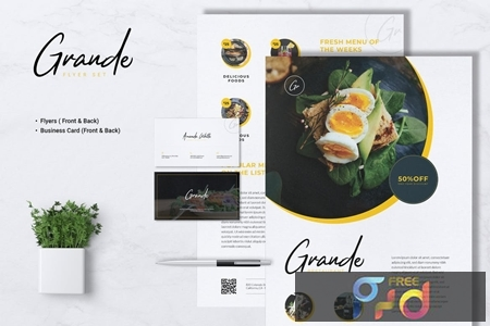 GRANDE Restaurant Flyer & Business Card LCLSNH6 1