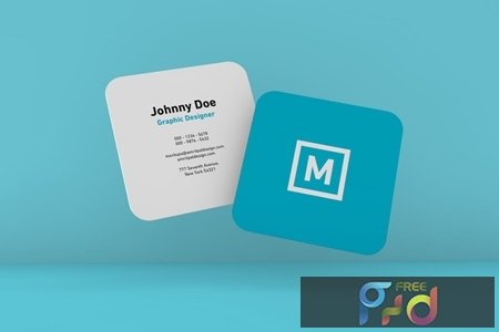 Rounded Square Business Card Floating Mockup RR6C5NB 1