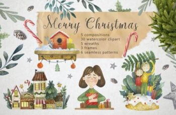 Merry Christmas Watercolor Set 1996773 5