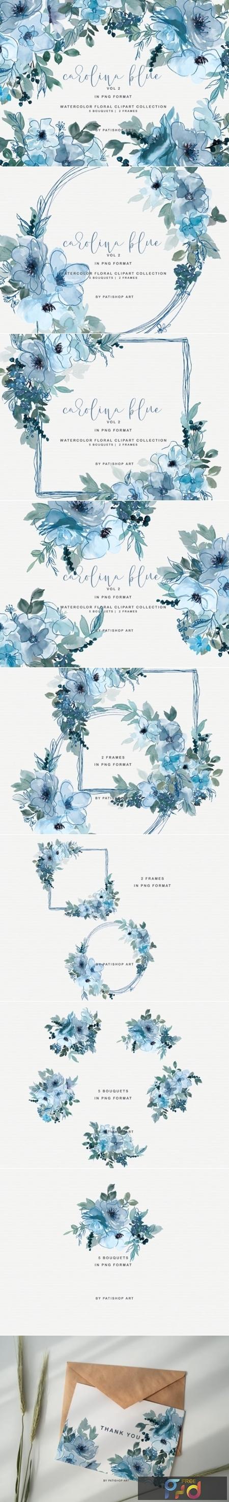 Pastel Blue Watercolor Floral Doodle Set 1996629 1