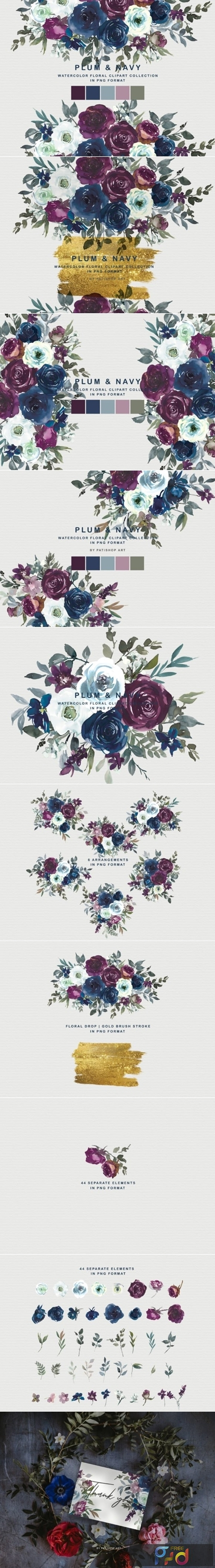 Plum & Navy Floral Clipart PNG Collectio 1996636 1