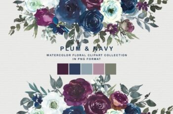 Plum & Navy Floral Clipart PNG Collectio 1996636 7