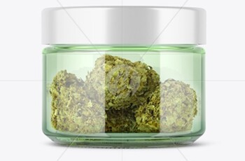 Green Glass Jar with Weed Buds Mockup 51629 1