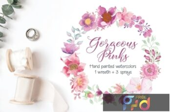 Watercolor Wreath and Sprays in Pinky Shades 34VZ5PM 8