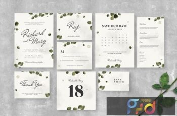 Leaves Wedding Invitation Suite 6LX87UR 6