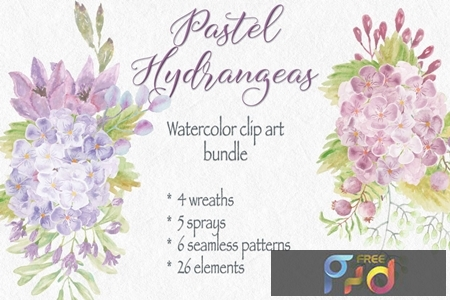 Pastel Hydrangeas Watercolor Clip Art Bundle 2SBFL6Z 1