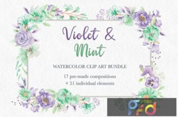 Violet and Mint Watercolor Clip Art Collection Y228WVW 5