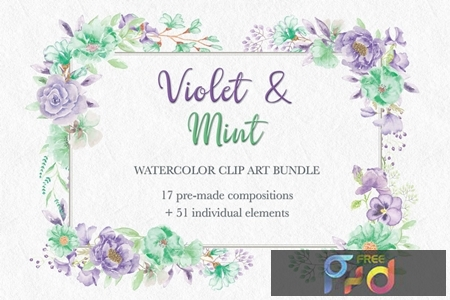 Violet and Mint Watercolor Clip Art Collection Y228WVW 1