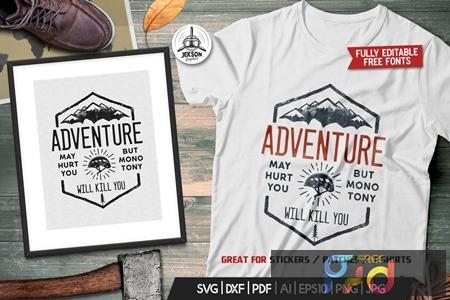 Adventure Logo Design, Camping Retro Hiking Tshirt Y3DGW3M 1