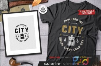 Away From The City, Camping Retro Adventure Tshirt UJGYNXX 1