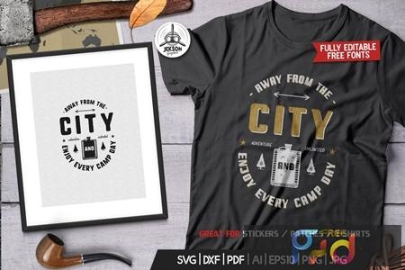 Away From The City, Camping Retro Adventure Tshirt UJGYNXX 1