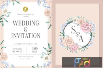 Floral Hand-drawn Watercolor Wedding Invitation Pack GQ4CKYT 12