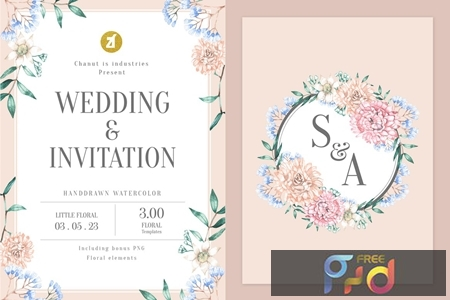 Floral Hand-drawn Watercolor Wedding Invitation Pack GQ4CKYT 1