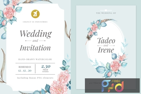 Floral Hand-drawn Watercolor Wedding Invitation Pack QZHYRG8 1