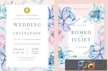 Floral Hand-drawn Watercolor Wedding Invitation Pack EFMSCVH 10