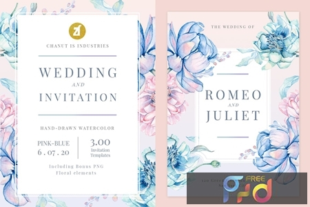Floral Hand-drawn Watercolor Wedding Invitation Pack EFMSCVH 1