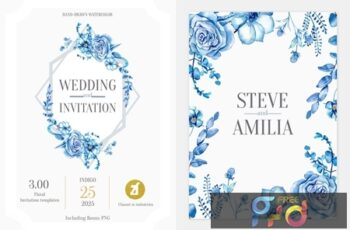 Floral Hand-drawn Watercolor Wedding Invitation Pack NCTJE5F 16