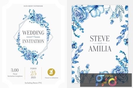 Floral Hand-drawn Watercolor Wedding Invitation Pack NCTJE5F 1