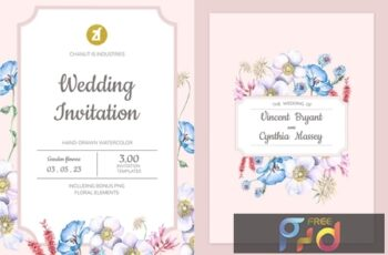 Floral Hand-drawn Watercolor Wedding Invitation Pack BPSRDN3 15