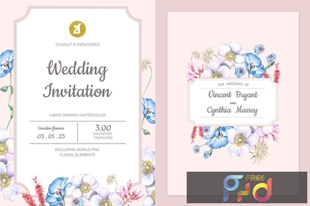 Floral Hand-drawn Watercolor Wedding Invitation Pack BPSRDN3 1