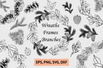 Hand Drawn Wreaths, Frames and Branches 2003201 7