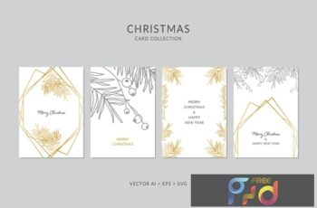 Christmas Greeting Card Vector Set 3K3L68W 6