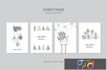 Christmas Greeting Card Vector Set CXXMDW4 7