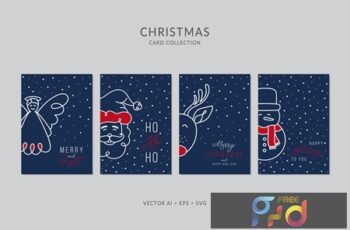 Christmas Greeting Card Vector Set E28XCQV 6