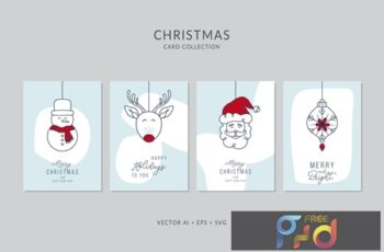 Christmas Greeting Card Vector Set UNEEMG3 5