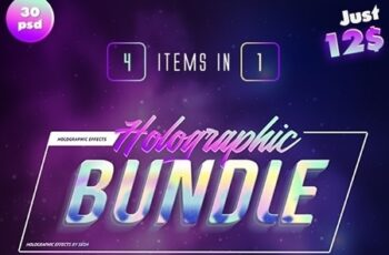 Holographic Text Effects Bundle 25047134 2