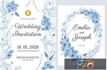 Floral Hand-drawn Watercolor Wedding Invitation K4996FM 13