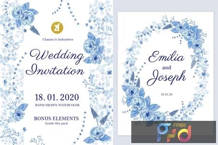 Floral Hand-drawn Watercolor Wedding Invitation K4996FM 1
