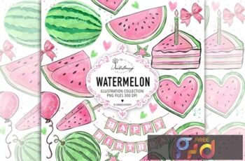 Watercolor Pink Watermelon Clipart DZWFSCX 10