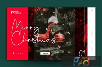 Merry Christmas Web Landing Page AI and PSD Vol. 2 STPSD7W 4