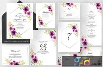 Burgundy Wedding Invitation Suite 6QAZDZ7 5
