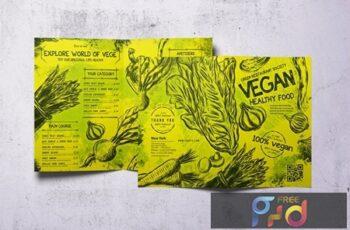 Vintage Vegan Bifold Food Menu A4 & US Letter G7MA7RA 3