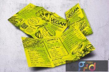 Vintage Vegan Trifold Food Menu A4 & US Letter PF6C9VL 4