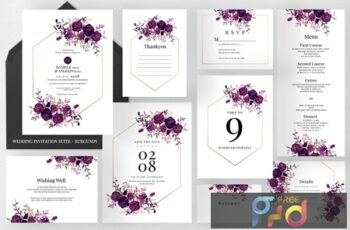 Wedding Invitation Suite - Burgundy SFVJD4W 12