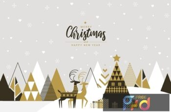 Flat design Creative Christmas greeting card M68PQTL 3