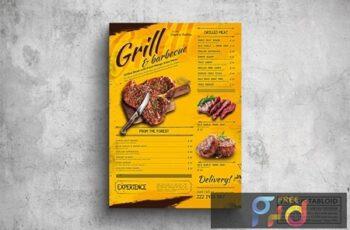 Grill & BBQ Poster Food Menu - A3 & US Tabloid 8K7LQPS 3