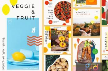 Veggie and fruit social media graphic templates KQ4BQ5K 4